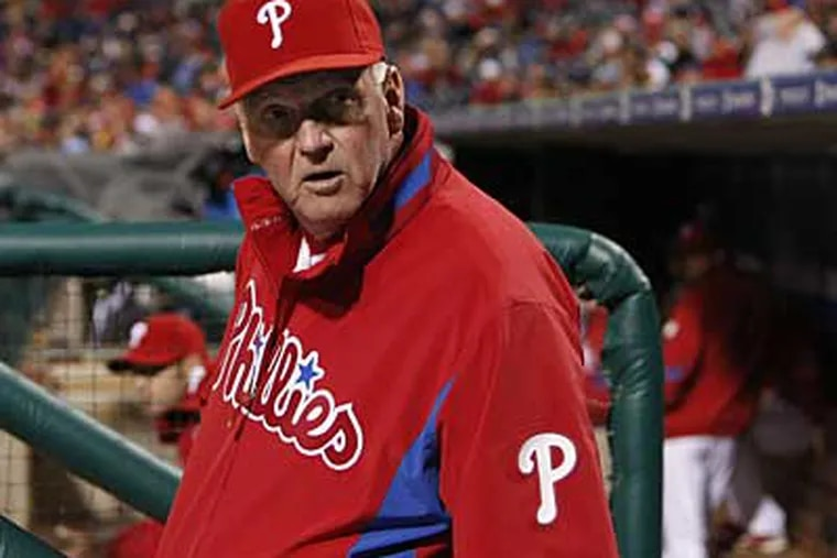 """""""I look at it as we could've done more than that,"""" said Phillies manager Charlie Manuel about the recent four-game series against the Dodgers. (Ron Cortes / File photo)"""