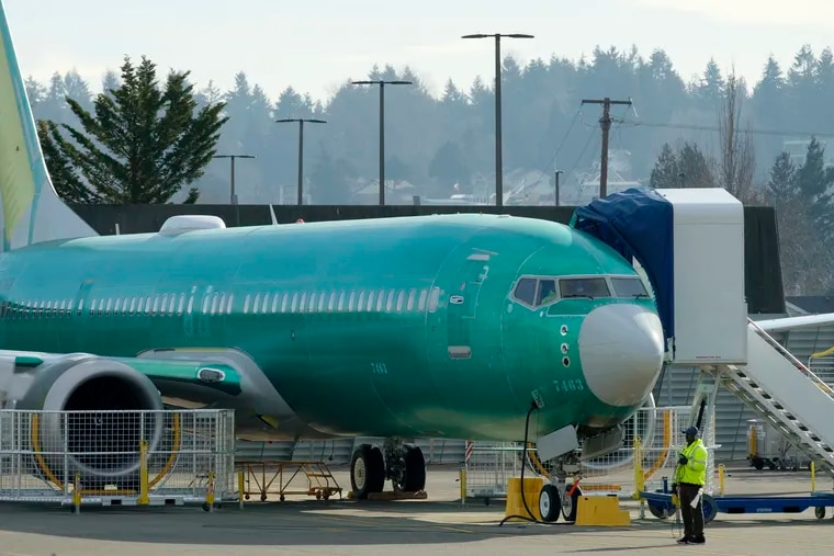 A Boeing 737 MAX 9 airplane test its engines outside of the company's factory on March 11, 2019 in Renton, Washington. Boeing's stock dropped today after an Ethiopian Airlines flight was the second deadly crash in six months involving the Boeing 737 Max 8, the newest version of its most popular jetliner. (Stephen Brashear/Getty Images/TNS).