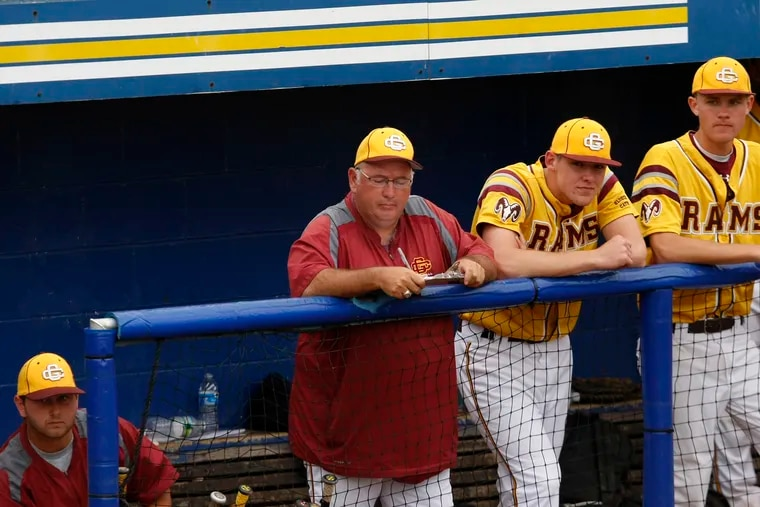 Dennis Barth (middle) has been rehired as head coach of the Gloucester Catholic's baseball team. His past Rams teams won nine state titles in 19 seasons.