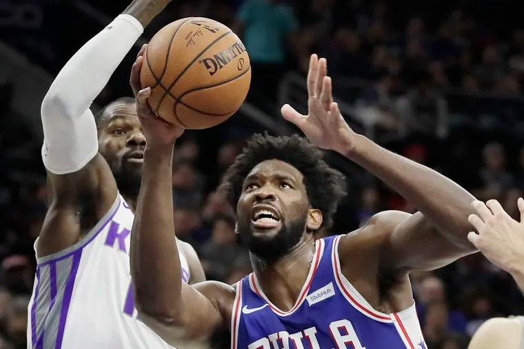 Sixers Joel Embiid was focused on the net while scoring a game-high 33 points against the Sacramento Kings on Wednesday.