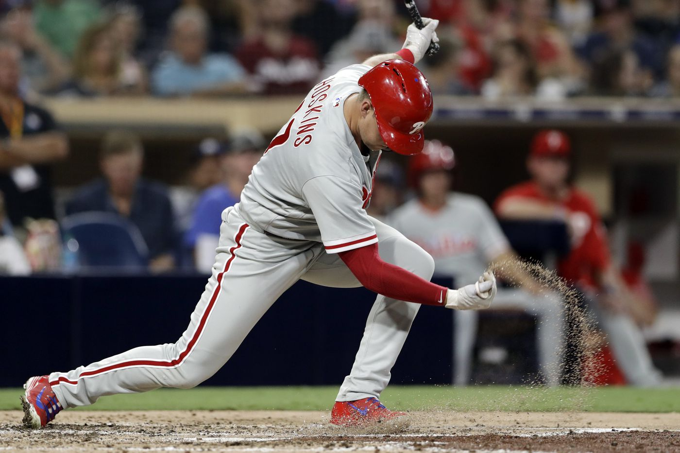 Rhys Hoskins, Carlos Santana struggling offensively as Phillies limp home from West Coast
