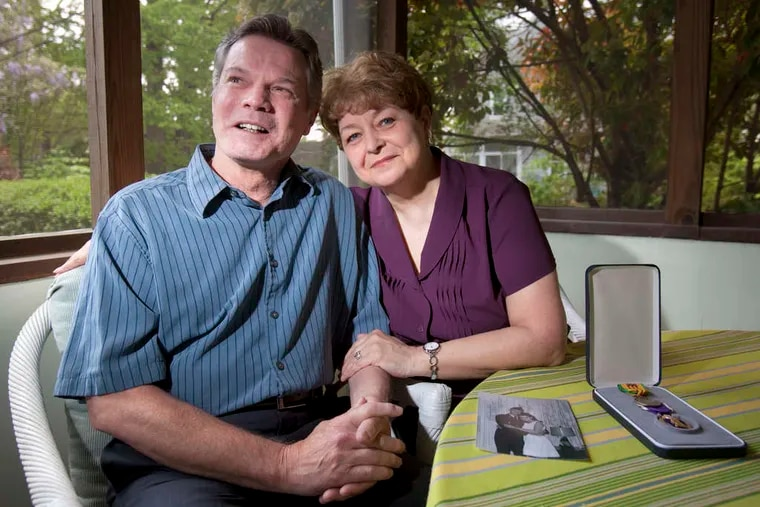 Robert James Miller and his wife, Patti, of Norwood. She wrote him a letter every day he was away serving in Vietnam, where he was injured by shrapnel.