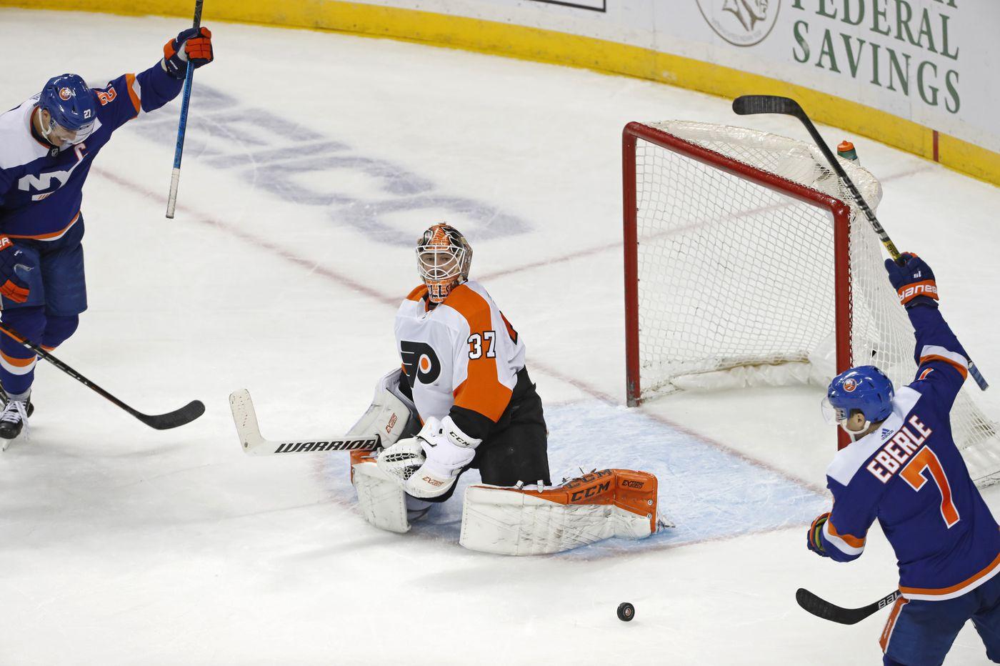 Late goal sinks Flyers in 5-3 loss to New York Islanders