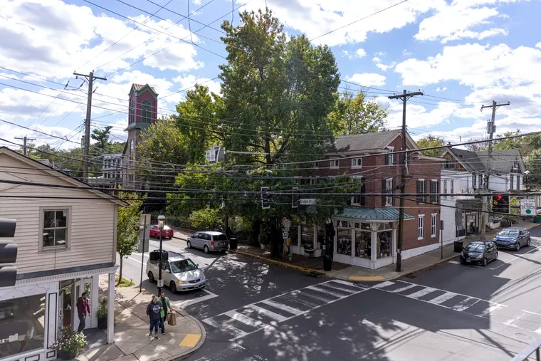 An overlook of Main Street and Bridge Street in New Hope, Pa., where many local shops, restaurants, and bars can be seen.