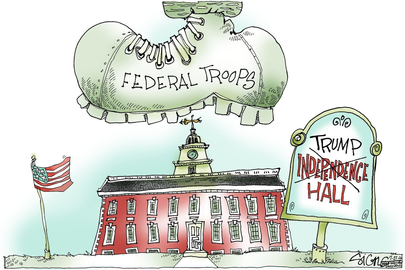 Political Cartoon: Troops to Independence Hall