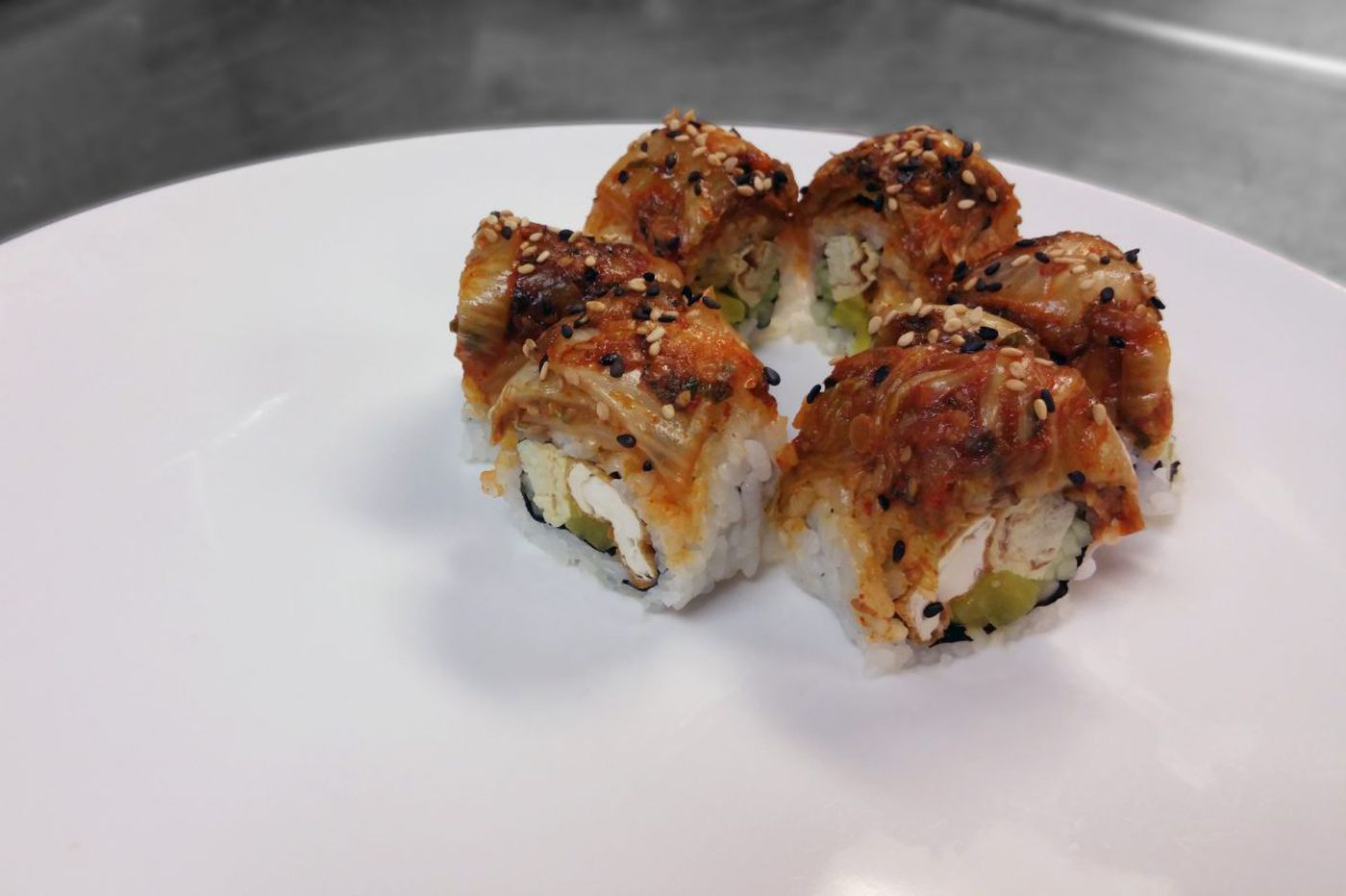 Sushi with kimchi and yam, or fried chicken and cabbage