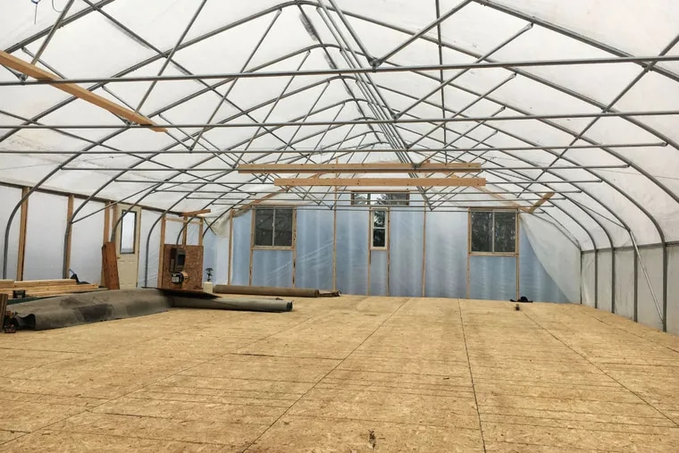 A wedding house is built in sections and can be quickly set up and connected like prefab housing, then taken down and moved to the next wedding site.