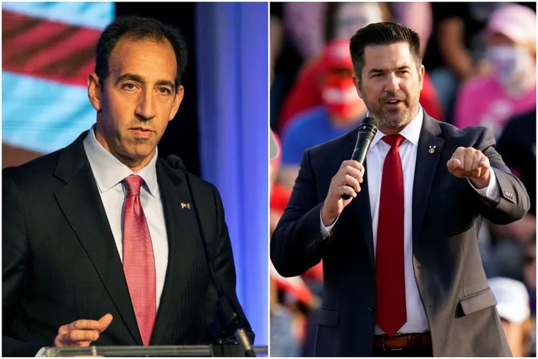 Jeff Bartos (left) has sharply attacked rival Sean Parnell in the 2022 Republican primary for U.S. Senate. Republican insiders are divided over who has suffered the worst of the fallout.