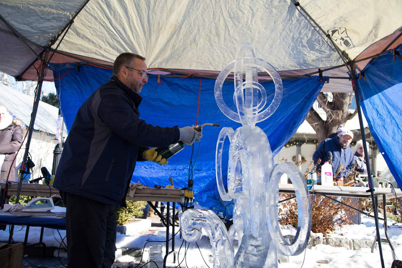 Ice sculpture, hot chili star at Jersey Fire & Ice fest