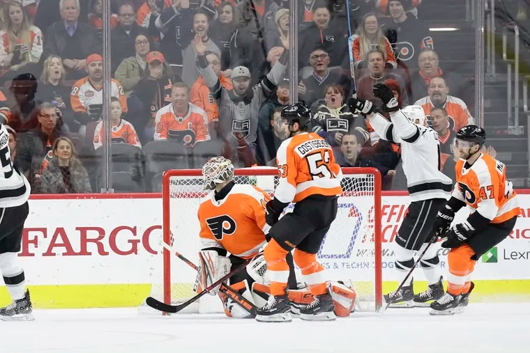 Kings left wing Austin Wagner (left) celebrates a first-period goal against the Flyers last season. The Orange & Black was 7-16-2 at home last year when they gave up the first goal, including this game which they lost in a shootout. They were 12-2-2 when they scored first at the Wells Fargo Center.