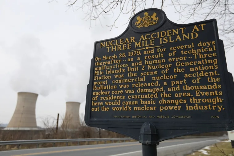 A historical sign post on Pennsylvania State Route 441 commemorating Three Mile Island near Middletown, site of the nation's worst commercial nuclear accident.