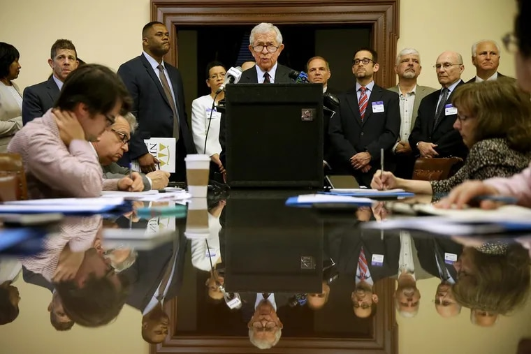 Former New Jersey Supreme Court Justice Gary Stein speaks during a news conference announcing a school desegregation lawsuit against the state of New Jersey at the state house in Trenton, N.J., on Thursday, May 17, 2018.