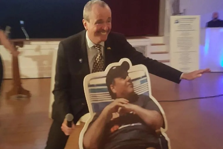 New Jersey Working Families Alliance captured this photo of Phil Murphy posing with the beach gate meme. Christie was not happy.