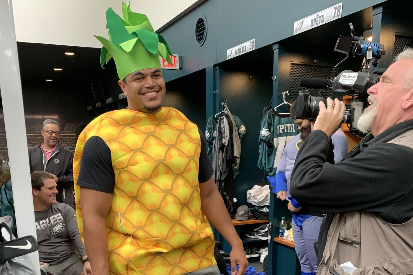 Eagles rookies visit CHOP in Halloween costumes