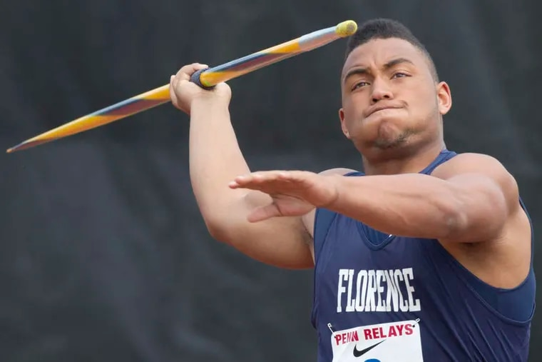 """Florence's Curtis Thompson threw the javelin 224 feet, 10 inches at the Meet of Champions. """"I know what I'm doing and how to throw it,"""" he said."""