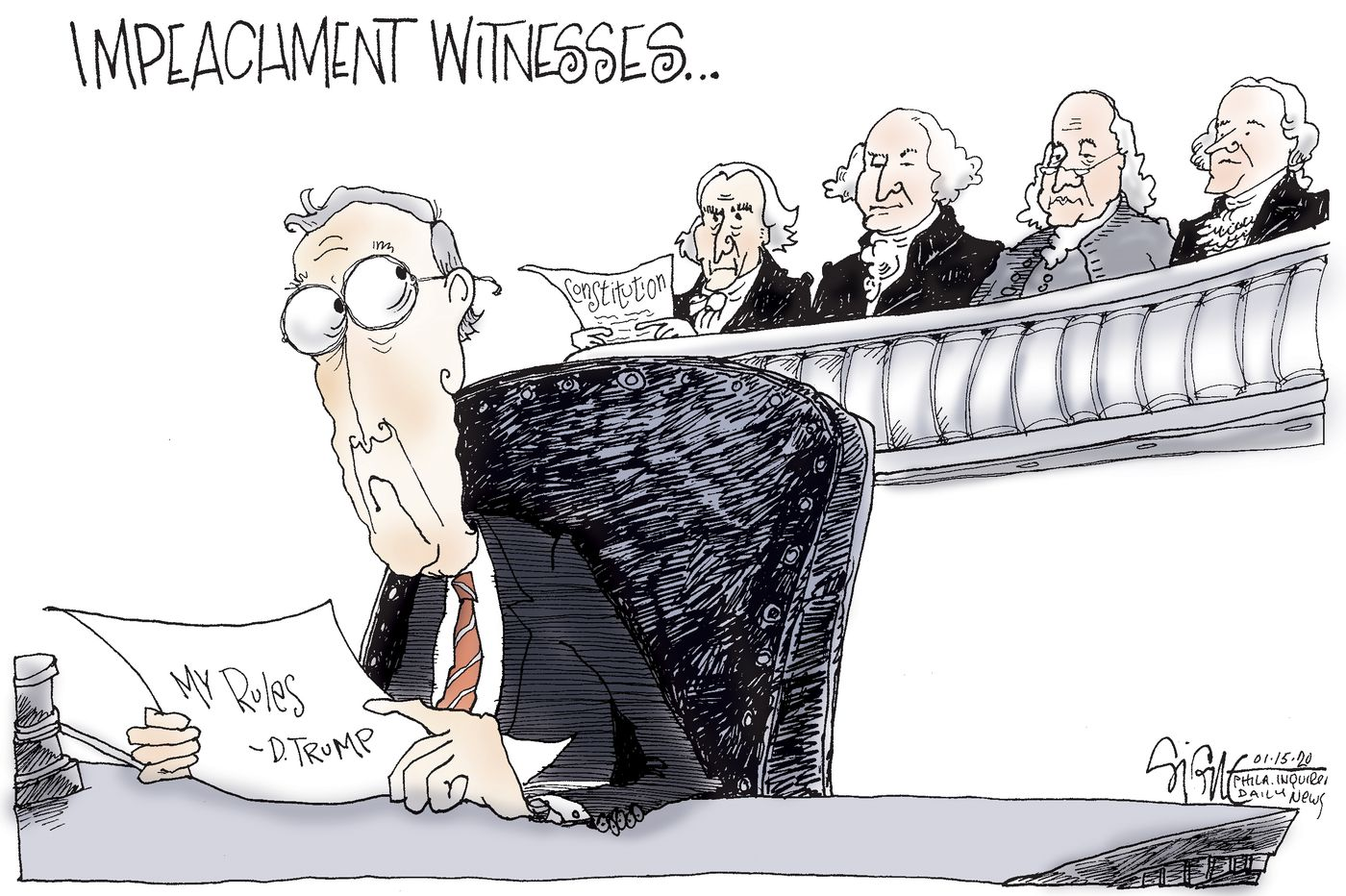 Political Cartoon: Impeachment witnesses for Mitch McConnell