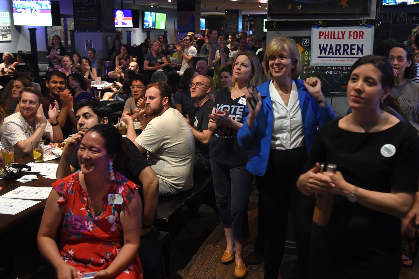 In Philly, Elizabeth Warren supporters watch her take debate's center stage