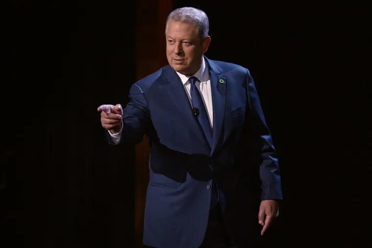 "Al Gore giving his presentation on ""An Inconvenient Sequel."""