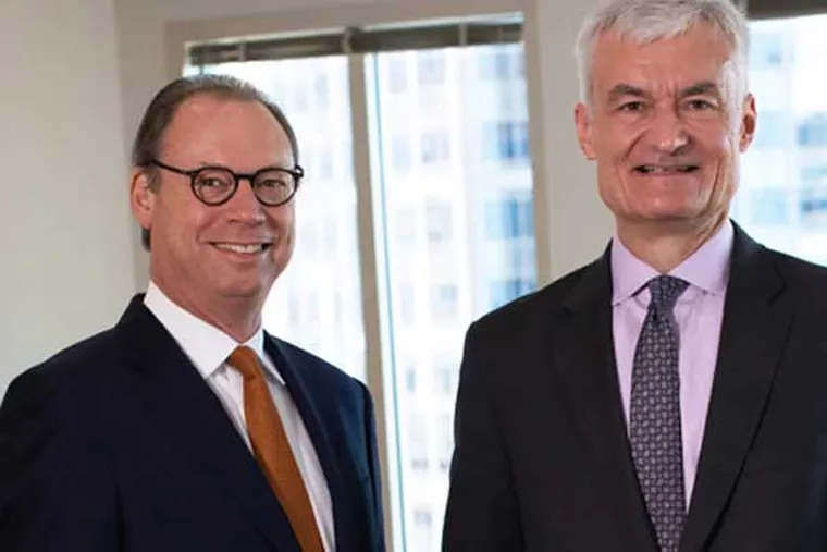 Philadelphia law firm Drinker Biddle & Reath is merging with Faegre Baker Daniels of Indianapolis. In this photo: Co-chair Andrew Kassner of Drinker Biddle (left) and Tom Froehle of Faegre Baker. The combined firm will be known as Faegre Drinker.