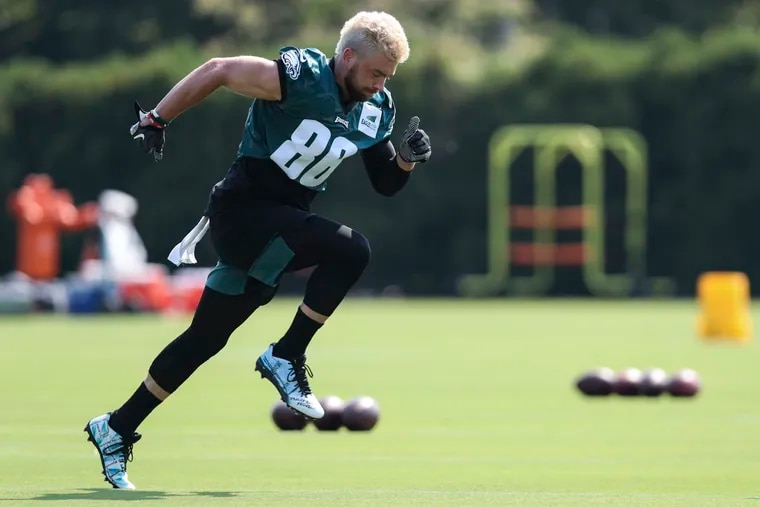 Philadelphia Eagles tight end Zach Ertz  runs drills during the first day of training camp at the NovaCare Complex.