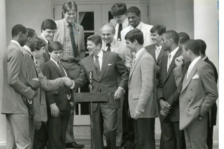 Villanova Wildcats meet President Reagan after their NCAA Tournament victory 30 years ago.