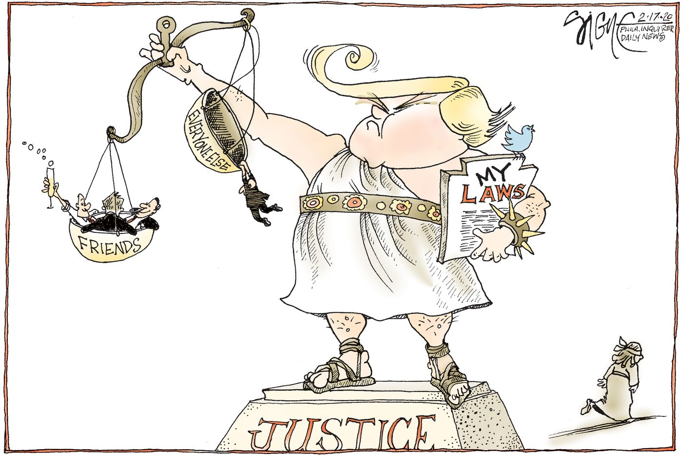 Political Cartoon: The scales of the Justice Department