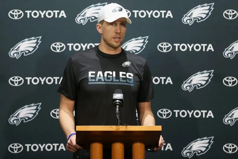 Quarterback Nick Foles speaks during a news conference at the Eagles' NovaCare Complex on Tuesday, Dec. 12, 2017. TIM TAI / Staff Photographer