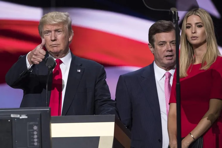 Campaign manager Paul Manafort, center, was at candidate Donald Trump's side during the Republican National Convention.