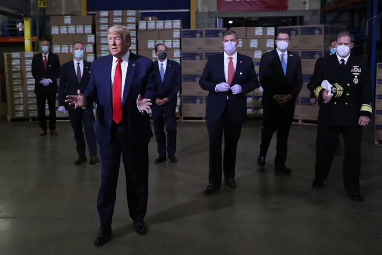 President Donald Trump during a visit to the Owens & Minor medical equipment distribution center just outside Allentown, Pa., on May 14, 2020.