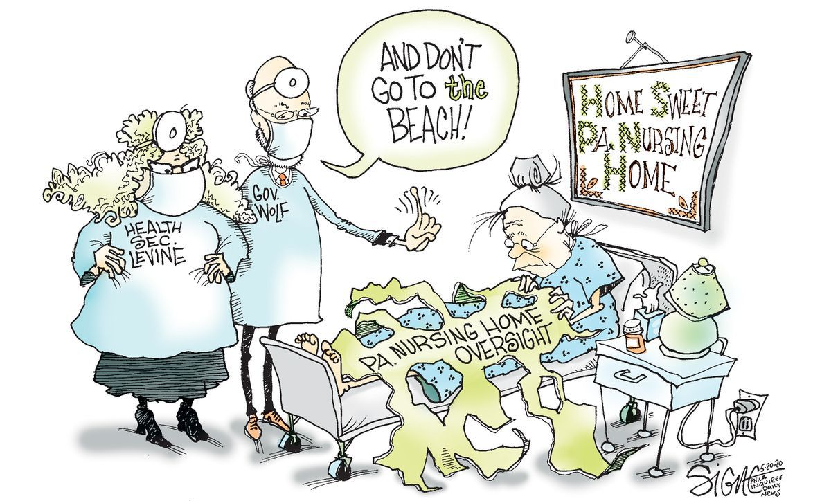 Political Cartoon Governor Wolf No Beaches Shelter At Perfectly Safe Nursing Homes