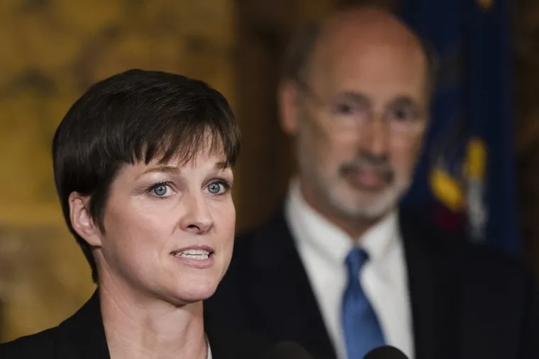 Pictured above is Teresa Miller, secretary of Pennsylvania's Department of Human Services, along with Gov. Wolf. Miller was at a press conference in the Capitol on May 29, 2019 to announce the creation of a suicide prevention task force.