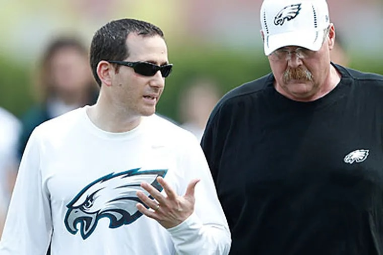 Eagles general manager Howie Roseman and head coach Andy Reid. (David Maialetti/Staff file photo)