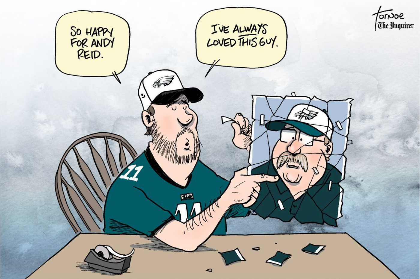 Sports Cartoon: Andy Reid is suddenly loved by Eagles fans