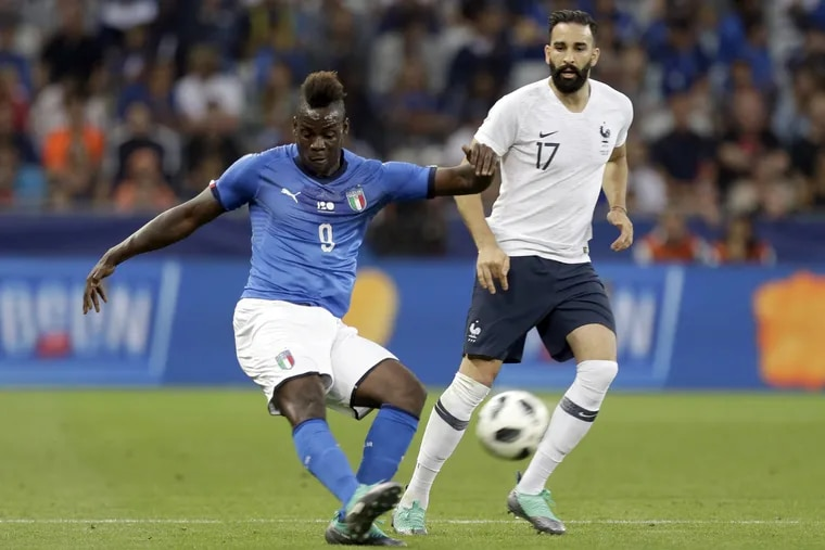 Mario Balotelli in action for Italy's national team this summer.
