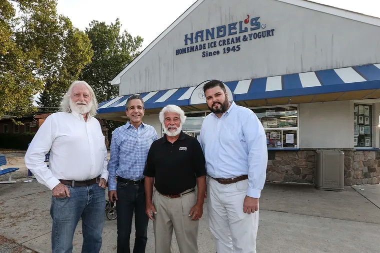 """From left, the owner of the Main Line's beloved Handel's Ice Cream, Buck Buchanan, and local developers David Della Porta,Todd Pohlig and Don Tracy recently drew up plans for a """"boutique"""" town center they want to build on """"Handel's corner"""" at 576 E Lancaster Ave. The complex would include 120 high-end apartments, a  few small stores, and an outdoor plaza centered on the popular ice cream shop."""