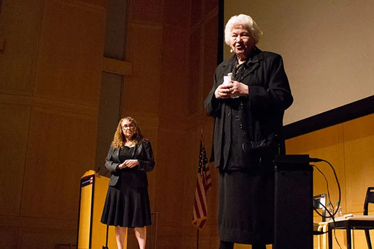 Holocaust survivor Judith Cohen Meisel (right) speaks to a group of high school students after a screening of the documentary about her life at the National Constitution Center in Philadelphia on Monday, April 28, 2014. ( COURTNEY MARABELLA / Staff Photographer )