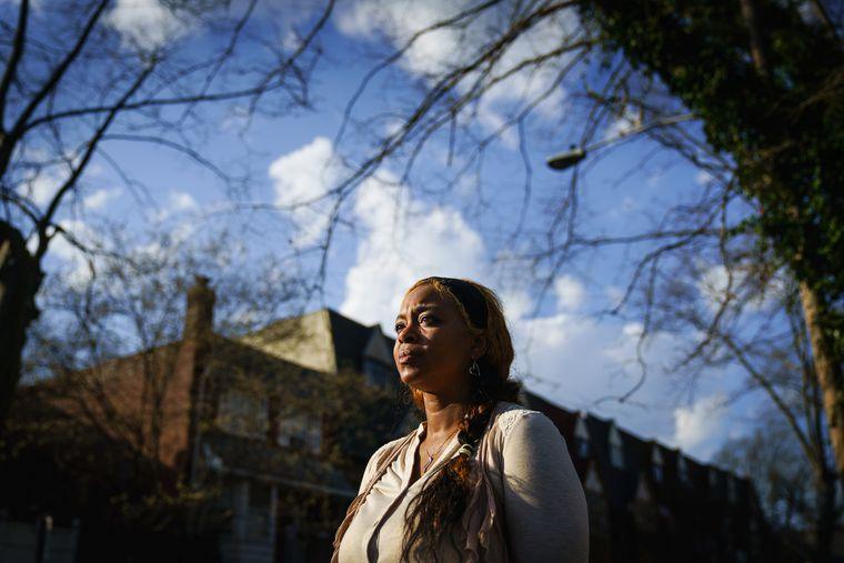Morkea Spellman, shown here in her neighborhood in Philadelphia, is advocating for the exoneration of her daughter, India Spellman.