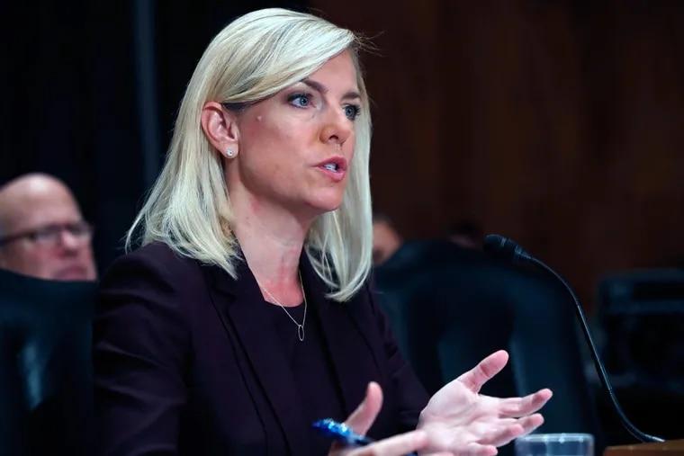 Kirstjen Nielsen testifies on Nov. 8 during a Senate committee hearing on her nomination to be Department of Homeland Security secretary.