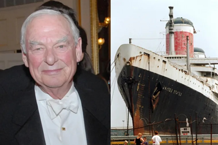 """Philanthropist H.F. """"Gerry"""" Lenfest will donate up to $5.8 million to help save the SS United States, the storied ocean liner berthed in South Philadelphia. (Staff photos by Bob Williams, Alejandro A. Alvarez)"""