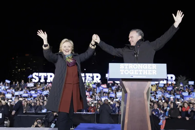 Hillary Clinton and Tim Kaine make a joint appearance at Penn on Saturday night.