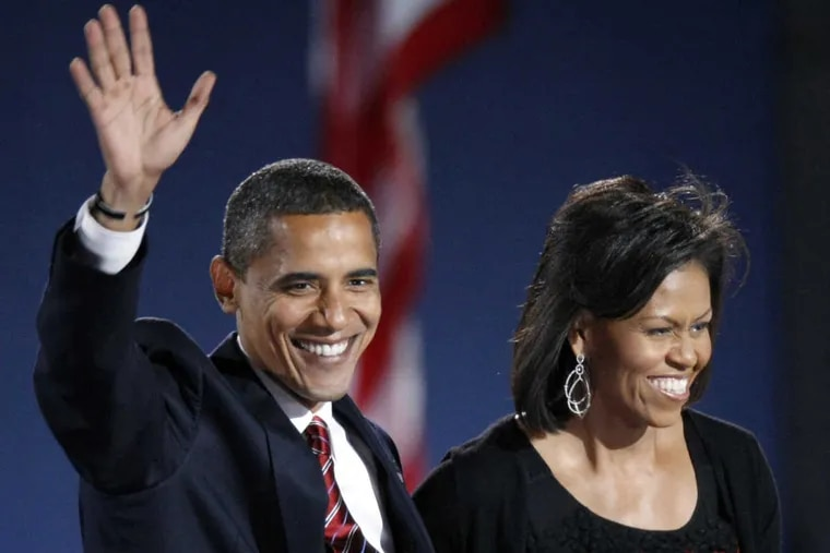 FILE -  This Nov. 4, 2008 file photo shows then-President-elect Barack Obama and his wife Michelle Obama.