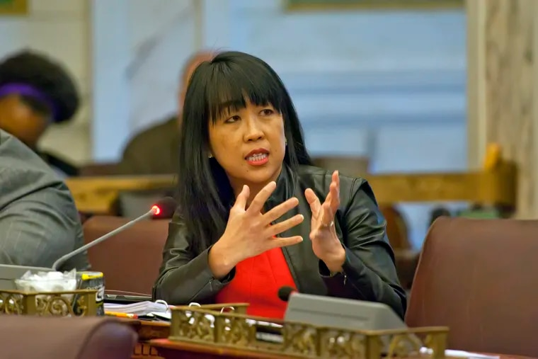 City councilwoman Helen Gym speaks during hearing in City Council Chambers at Philadelphia City Hall.