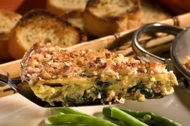 Panko crumbs top a crustless quiche.