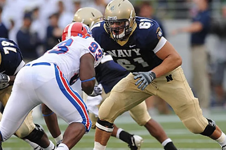"""""""Even without football, I was thinking about going to one of the military academies,"""" Jeff Battipaglia said. (U.S. Naval Academy)"""