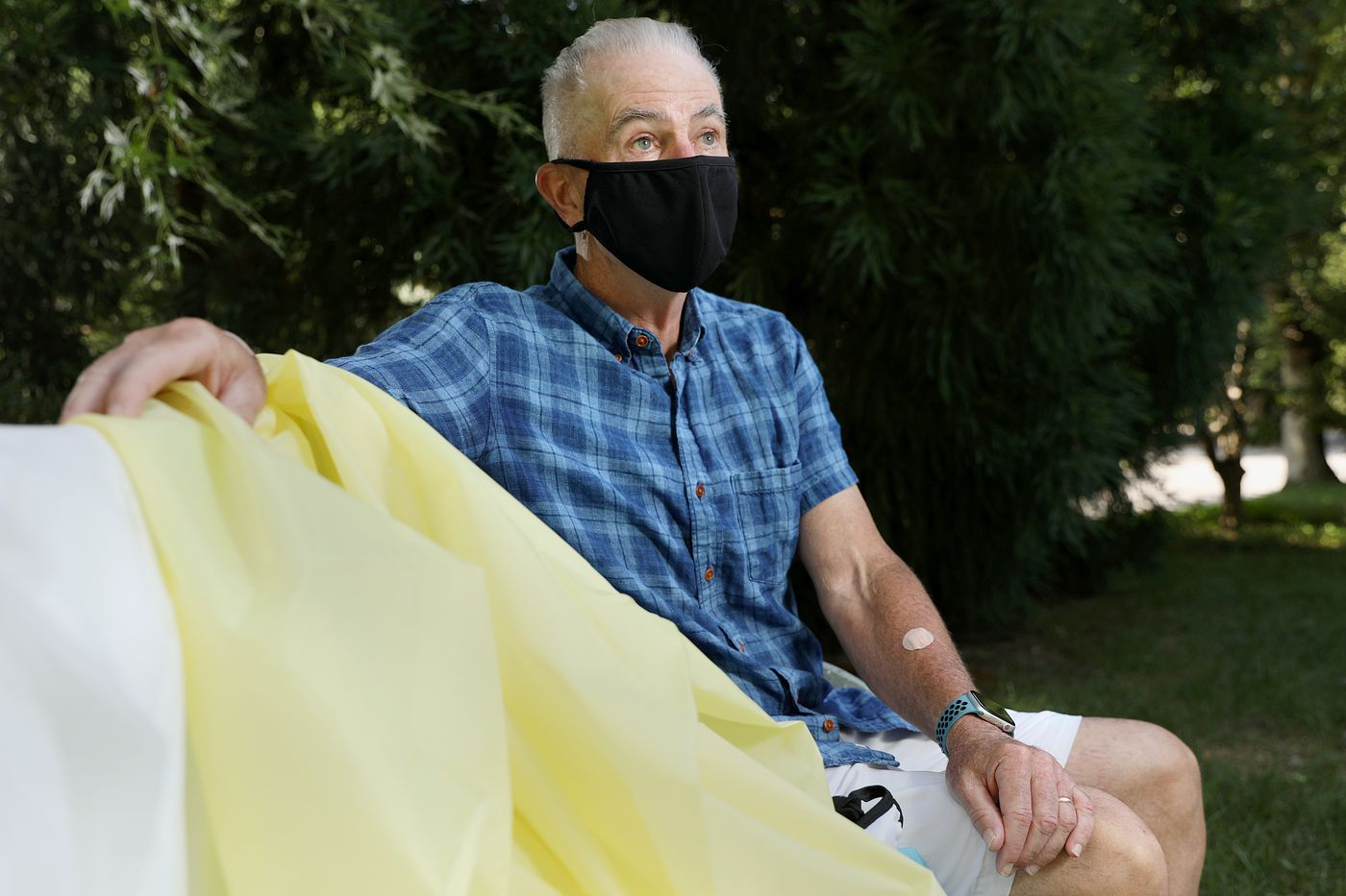 Ed Gribbin, who runs an apparel consultancy firm and is president of the Americas Apparel Producers Network, wears a washable face mask at his home in Merion Station. Due to the coronavirus pandemic, Gribbin is now focused on coordinating the manufacturing of isolation gowns and face masks.