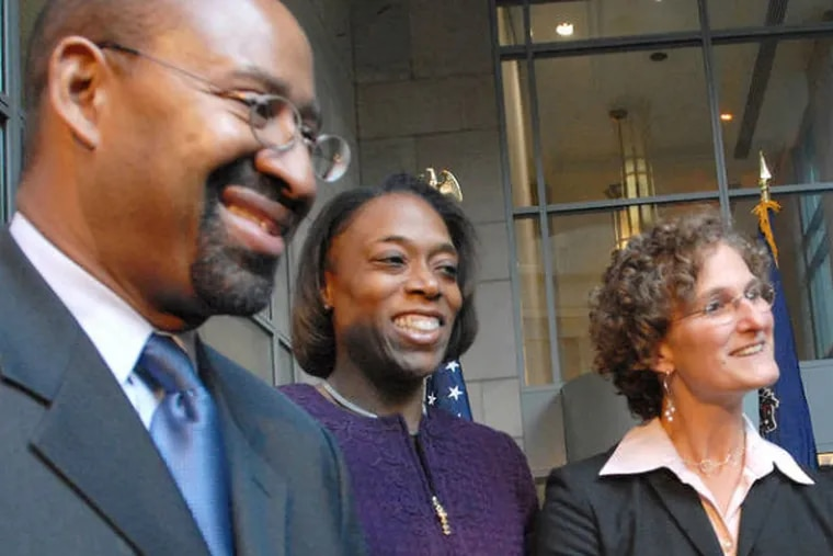 Mayor Nutter early in his tenure with appointees (from left) Kenya S. Mann, named to the city's Board of Ethics; Inspector General Amy L. Kurland; and Joan L. Markman, chief integrity officer.