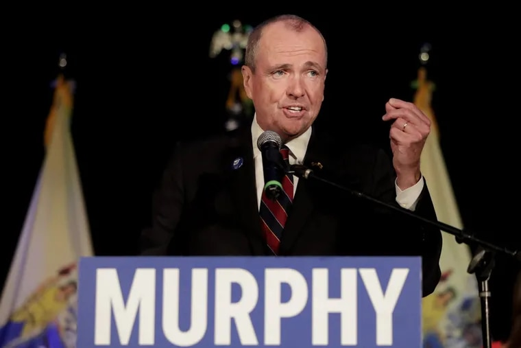 Gov.-elect Phil Murphy speaks to supporters during his election night victory party at the Asbury Park Convention Hall, Tuesday, Nov. 7, 2017, in Asbury Park, N.J.