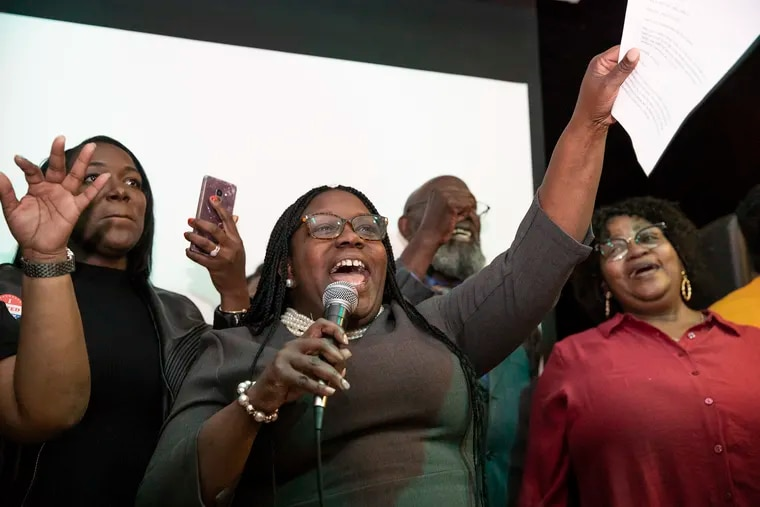 Kendra Brooks gives a speech at her results watch party for the Working Families in North Philadelphia on Tuesday, Nov. 05, 2019. Brooks is declaring victory though results are not official as of yet.