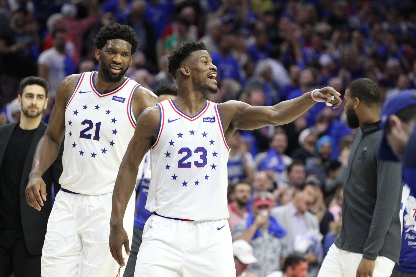 f60e94d1e09 NBA playoffs  Sixers  Joel Embiid and Jimmy Butler thriving in  pick-and-roll against Raptors