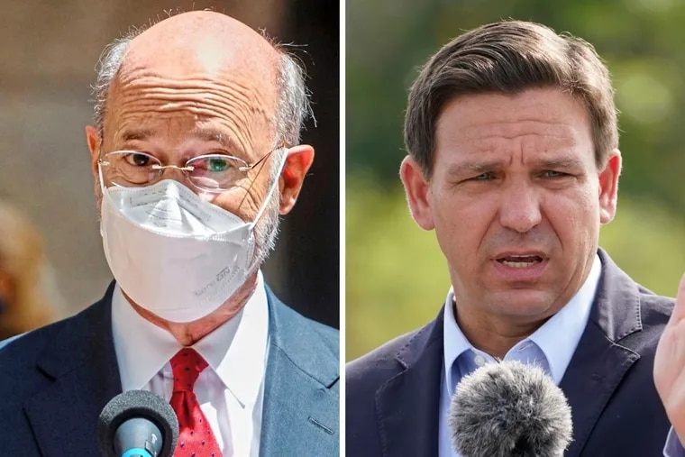 Pennsylvania Gov. Tom Wolf, left, is not causing the same harm as Florida Gov. Ron DeSantis, right, but he could be doing more to keep Pennsylvanians safe amid the COVID-19 pandemic, especially as the delta variant surges.